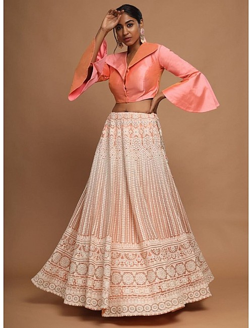 Beige lucknowi work crop top lehenga with stitched blouse