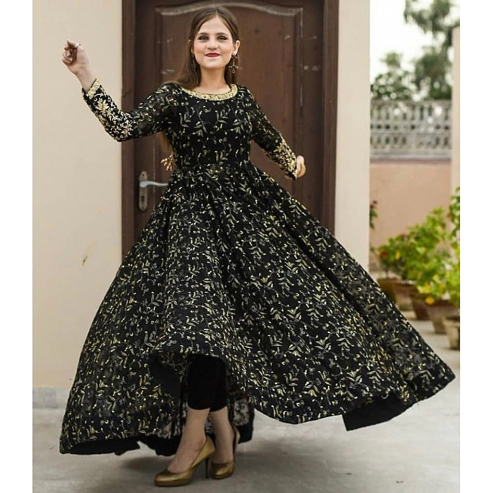Black georgette heavy embroidered wedding gown