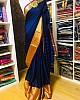 Blue banarasi silk jacquard broder saree