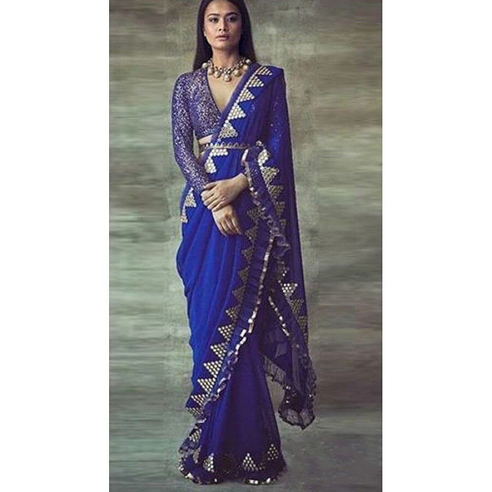 Blue georegette thread sequence and foil mirror work ruffle saree
