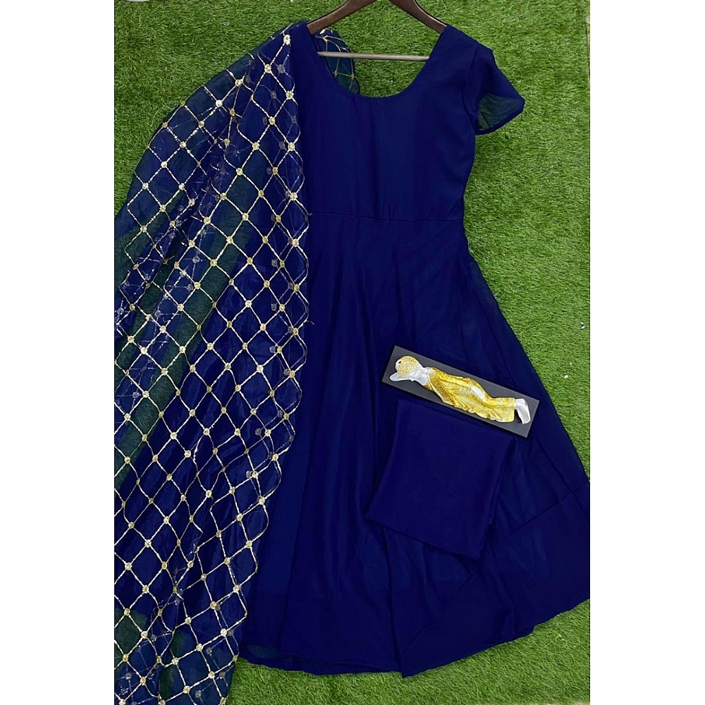 Blue georgette anarkali suit with sequence work dupatta