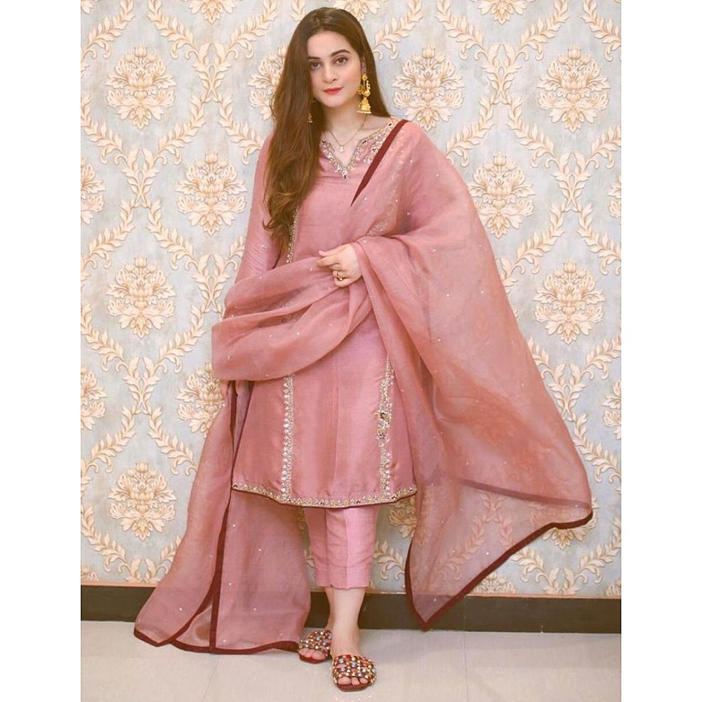 Dusty rose embroidery work cotton suit