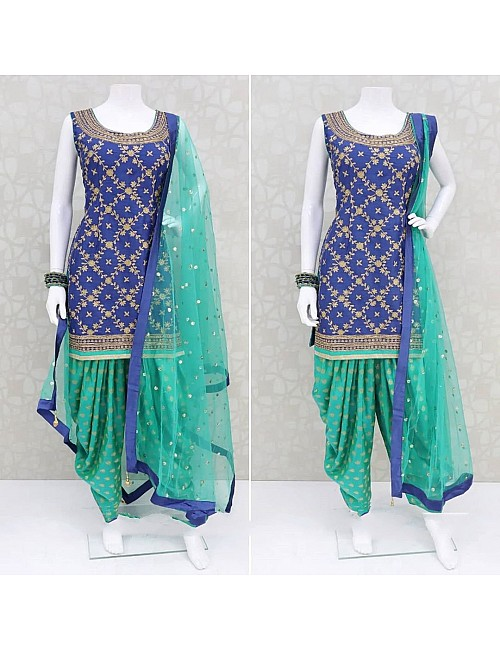Green and blue poly rayon patiala suit