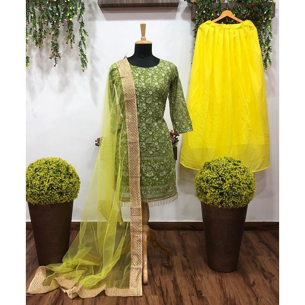 Green and yellow georgette embroidered lehenga suit