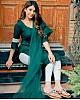 Green heavy slub cotton kurti with dupatta