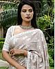 Grey cotton silk printed saree