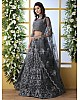 Grey net thread embroidered wedding lehenga choli