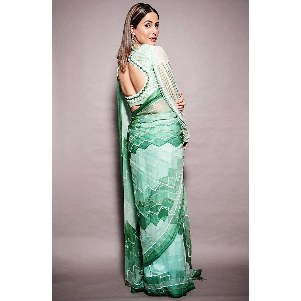 Multi shade pistagreen chinon silk digital printed saree