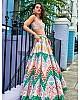 Multicolor printed italian silk stylist lehenga choli
