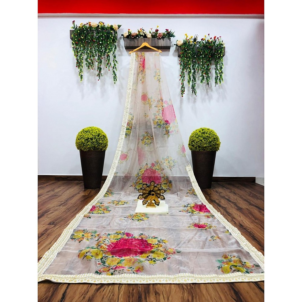 Off white organza silk floral printed designer saree