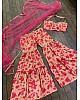 Peach chinon silk digital printed sharara salwar suit