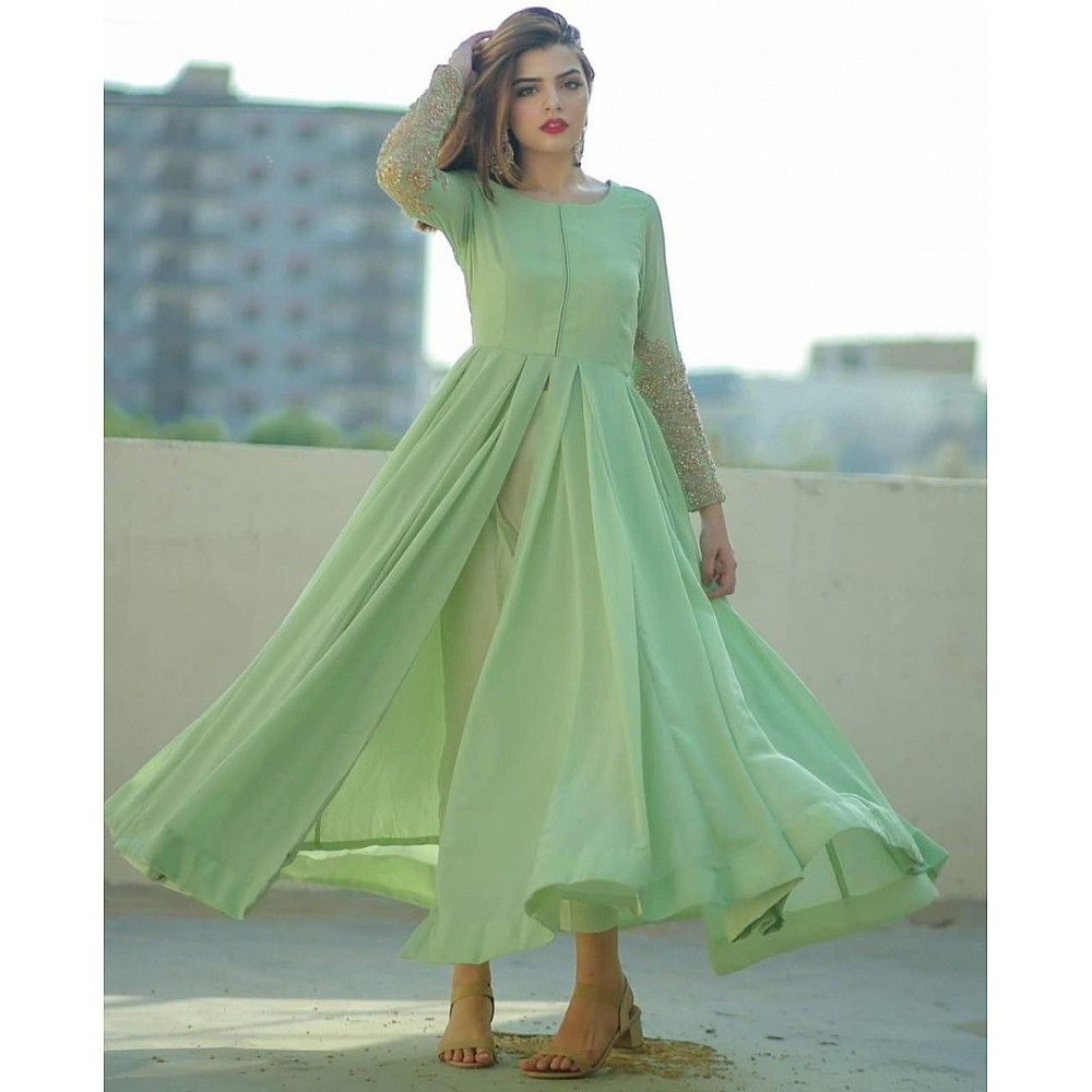 Pista green american silk long kurti