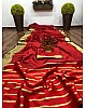 Red banarasi silk jacquard broder saree