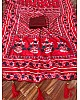 Red chinon silk digital printed designer saree
