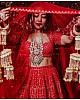 Red georgette chainstitch worked wedding lehenga choli