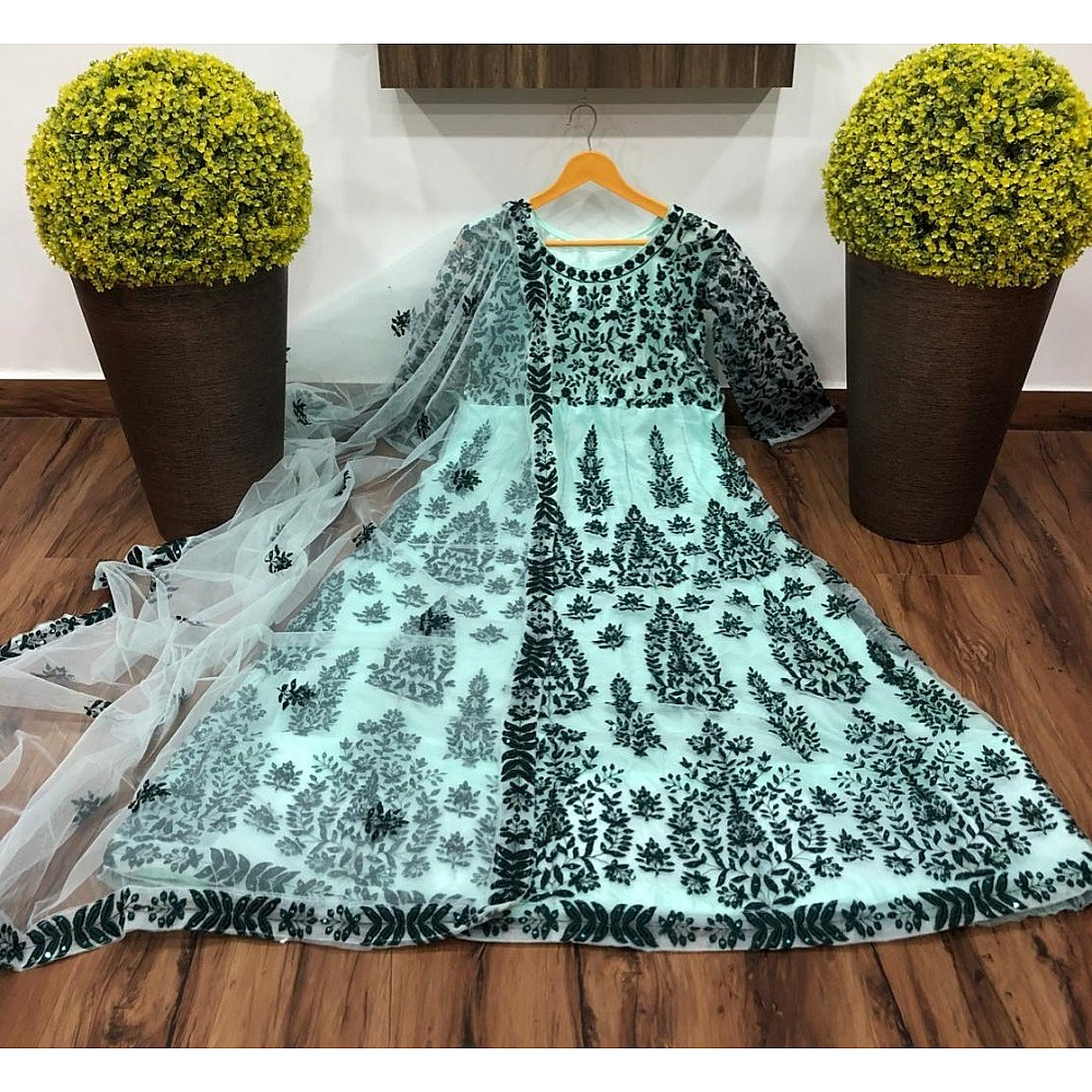 RT net embroidered gown with dupatta