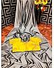 Shiny Grey heavy barfi silk partywear saree