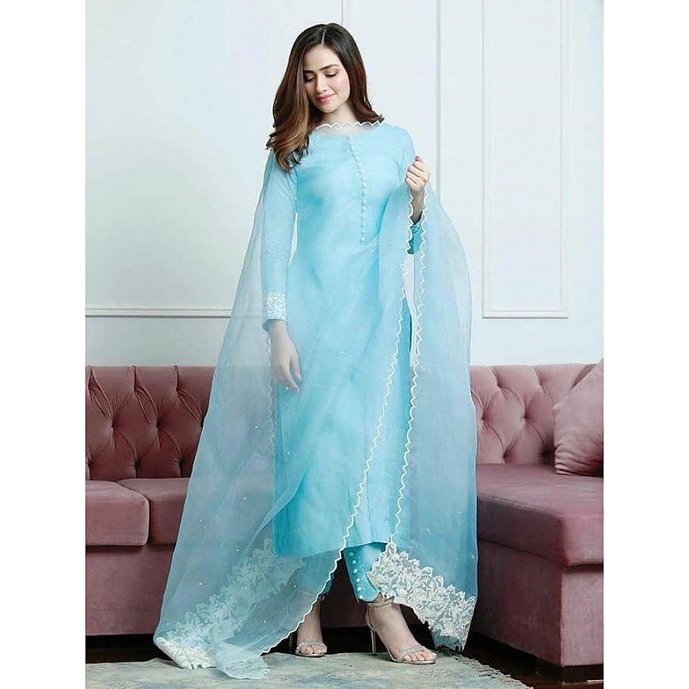 Sky blue cotton suit