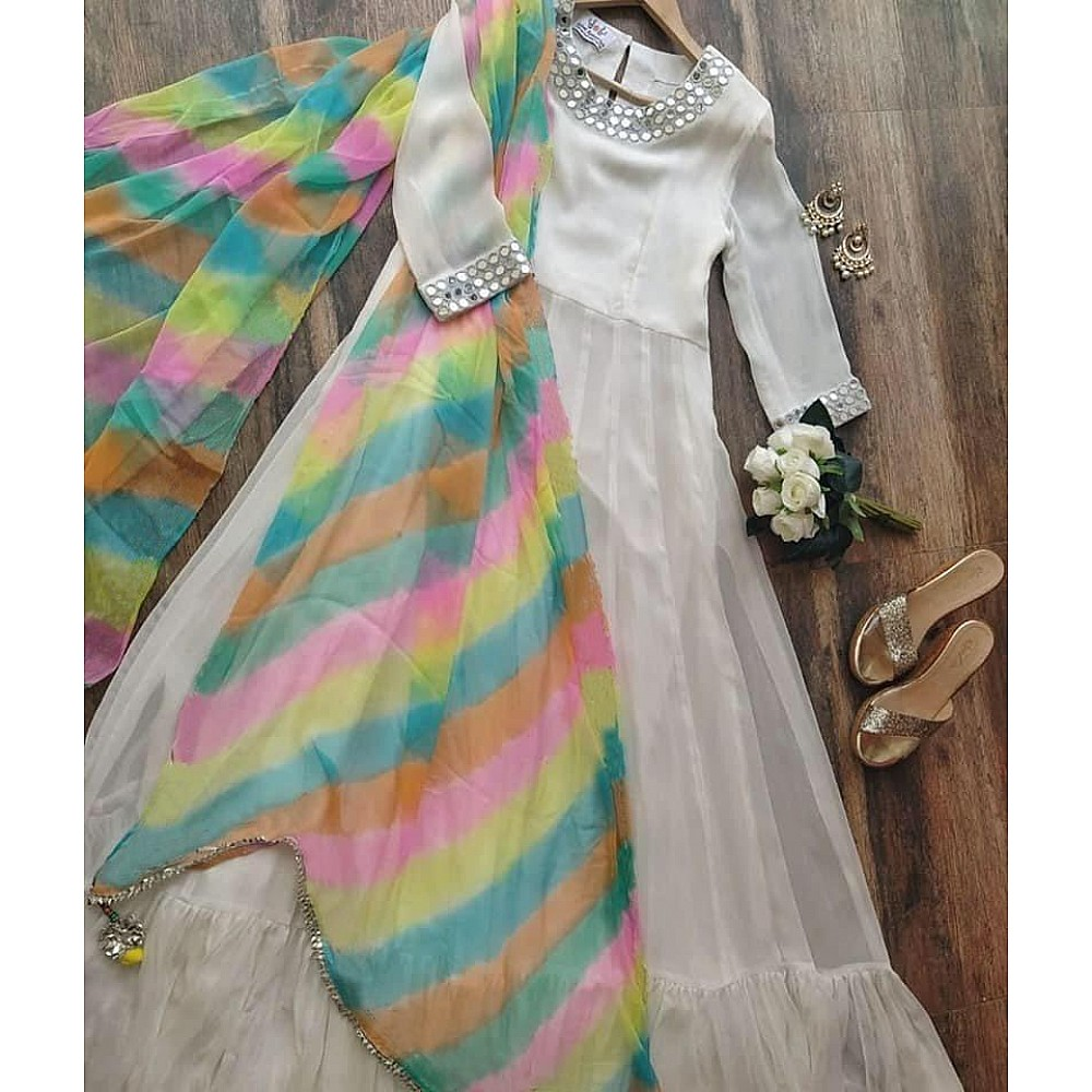 White georgette long anarkali gown with rainbow dupatta