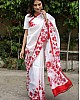 White heavy cotton silk digital printed saree