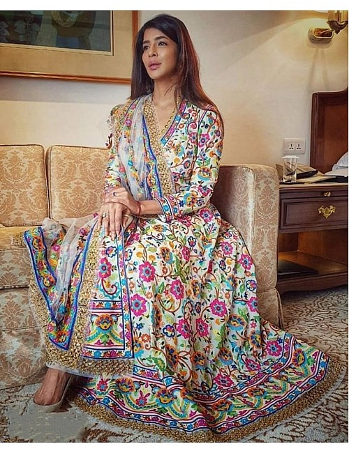 White multicolor digital printed long gown