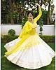 White rayon cotton fancy embroidery work ceremonial lehenga