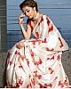 White satin silk digital printed saree