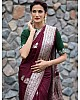 Wine soft lichi silk jacquard work saree