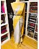 Yellow and grey banarasi jacquard silk saree