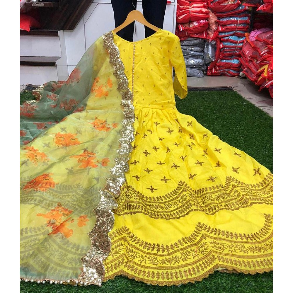 Yellow banglory satin embroidered long gown with dupatta