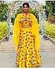Yellow georgette butterfly embelished crop top lehenga