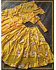 Yellow heavy satin floral digital printed lehenga choli