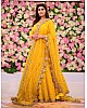 Yellow long gown with dupatta