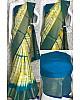 Yellow soft linen cotton printed saree