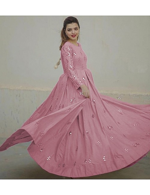 Baby pink georgette embroidered and mirror work gown