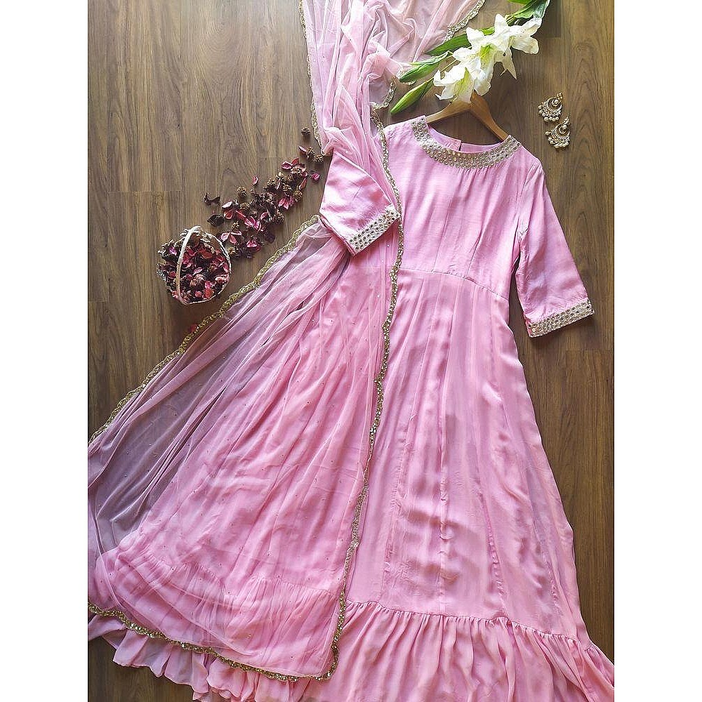 Baby pink georgette long anarkali suit