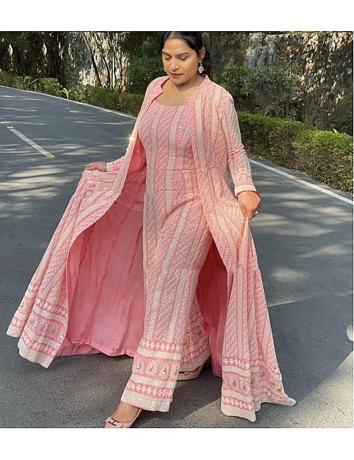 Baby Pink georgette sequence chain stitch shrug suit