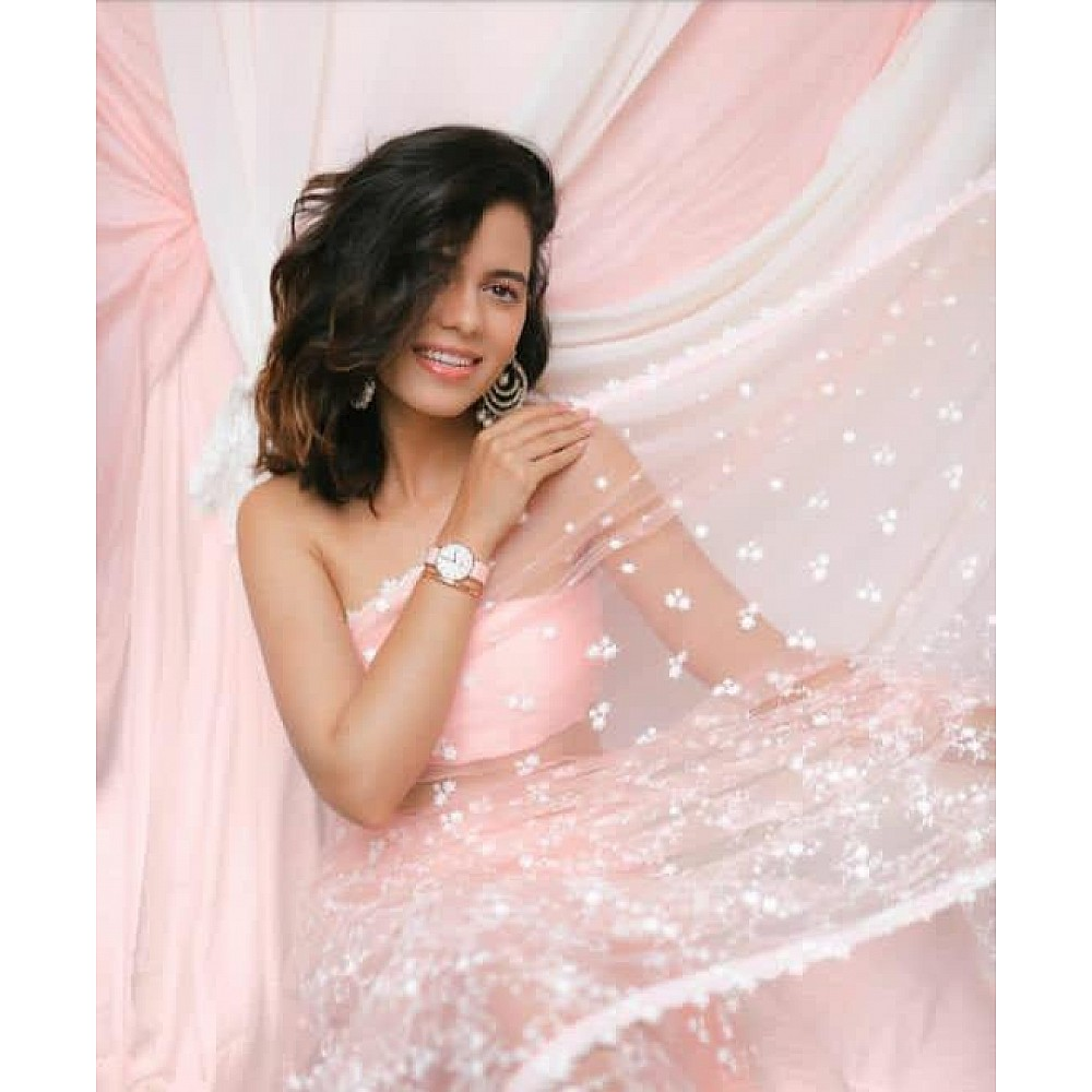 Baby pink heavy soft net thread work elegant look saree