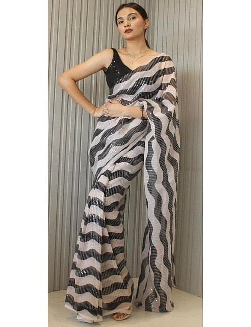 Black and White georgette fancy sequence saree