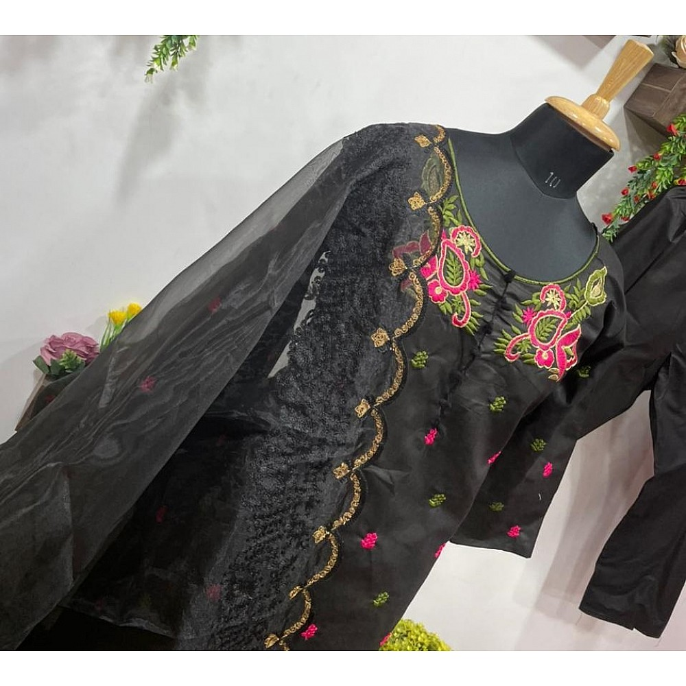 Black cotton embroidered salwar suit