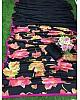 Black crape silk flower digital printed saree