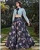 Black crepe silk flower printed party wear crop top lehenga