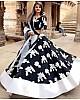Black fox georgette embroidered work ceremonial wear lehenga choli