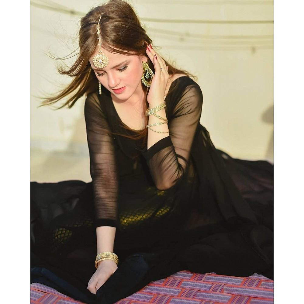 Black georgette gown with banarasi bottom