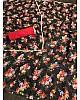 Black georgette pearl lace border floral printed work saree