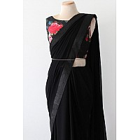 Black georgette plain partywear saree with printed blouse