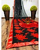 Black  georgette red embroidered saree