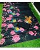 Black heavy crepe silk georgette flower digital printed saree