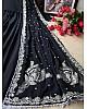 Black heavy georgette lace work  gown with designer dupatta