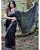 Black heavy organza silk embroidered border work party wear saree